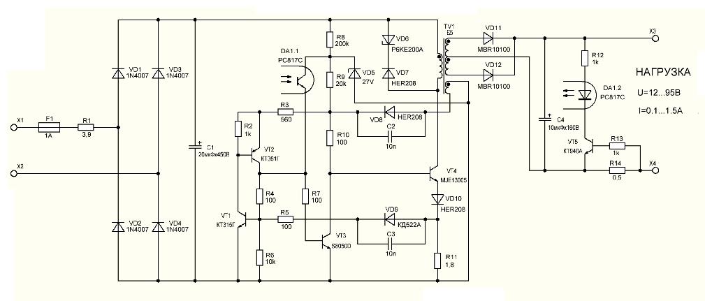2 Моя схема на транзисторах.