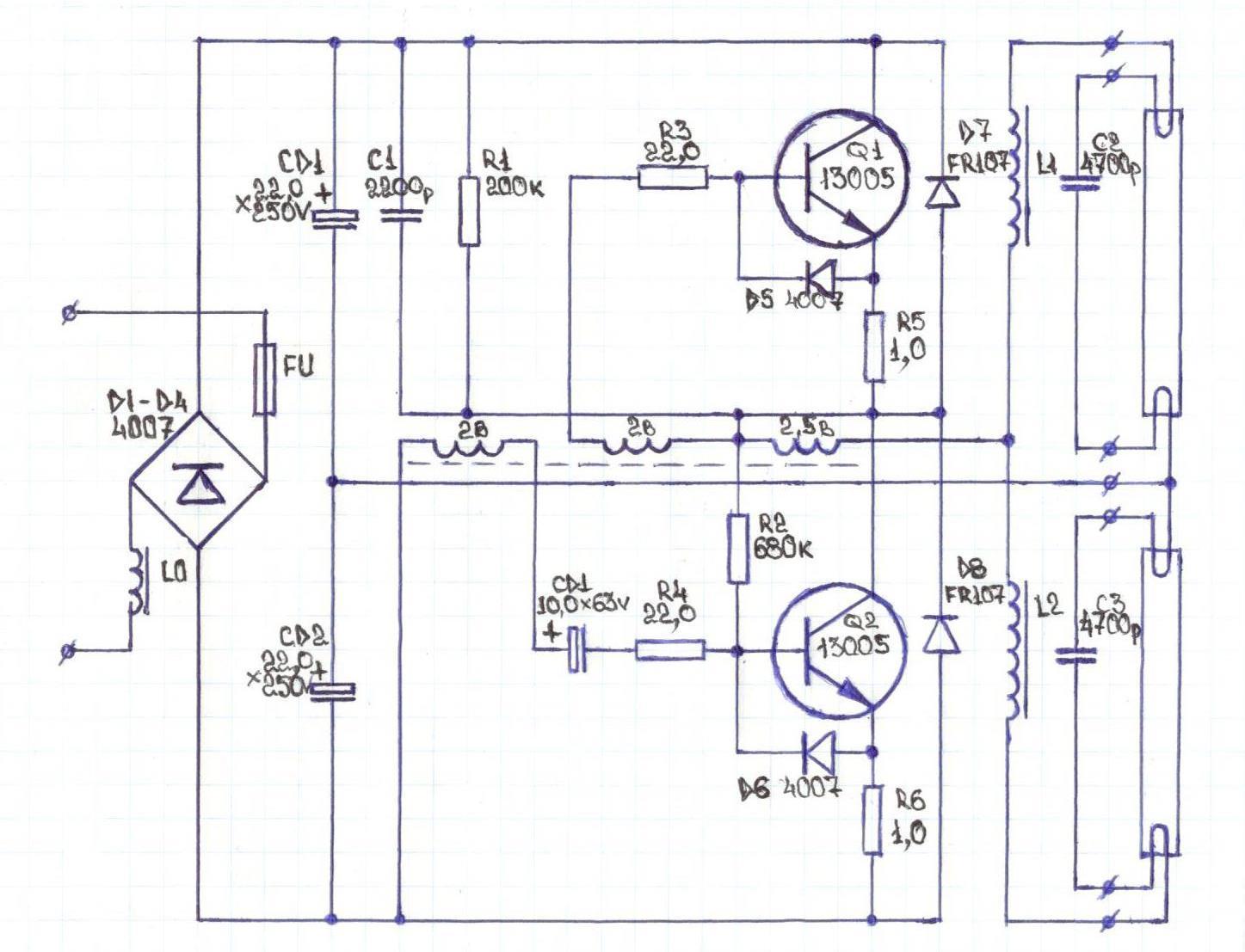 Feron eb52 2x36w схема